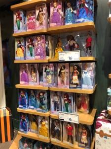 Wall full of Disney Princess at the Disney store
